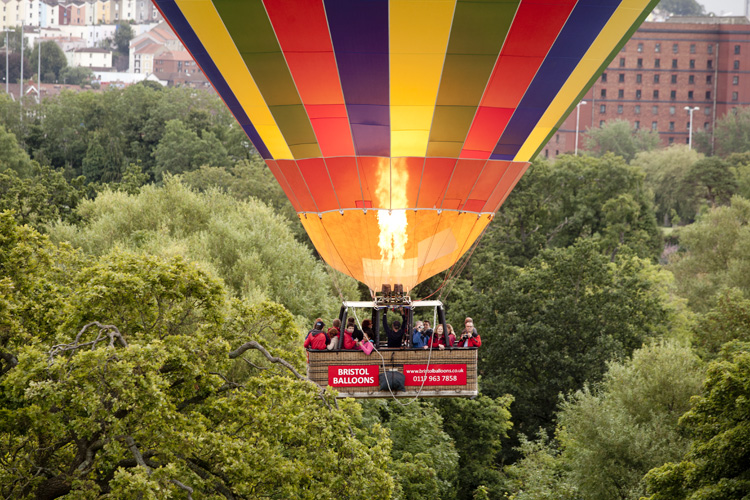 Bristol aerial photograph of people enjoying a hot air balloon flight by Adam Gasson