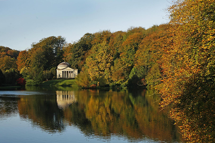 Stourhead Autumn Sunrise by Adam Gasson / SWNS.com