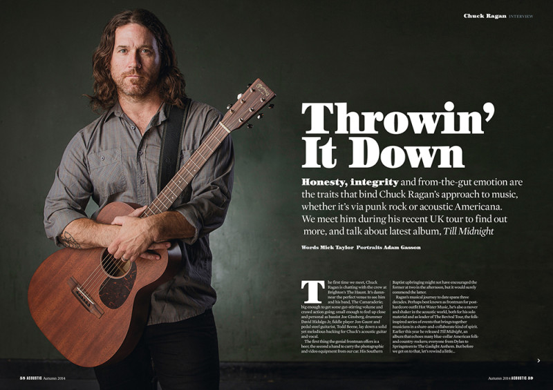 Chuck Ragan photographed for the autumn issue of Guitarist Presents Acoustic. Photo by Adam Gasson / adamgasson.com