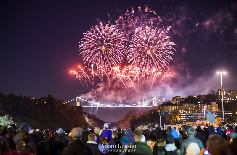 Thousands watch a fireworks display to celebrate the 150th anniversary of Brunel's Clifton Suspension in Bristol.