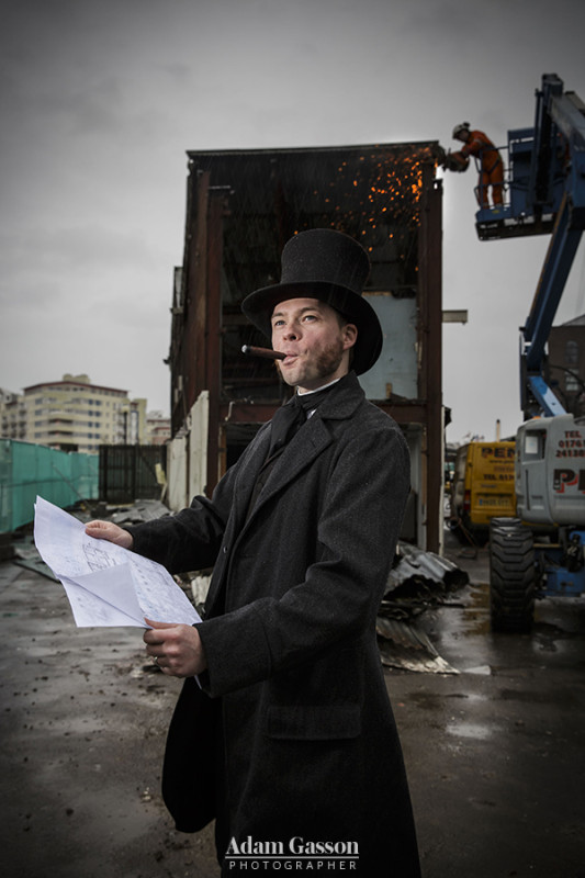 Isambard Kingdom Brunel oversees the start of the construction of Being Brunel at the ss Great Britain, Bristol. The museum, supported with National Lottery funding, will be a national centre looking in to the life of celebrated engineer Isambard Kingdom Brunel. 26 January 2016. Photo by Adam Gasson / adamgasson.com