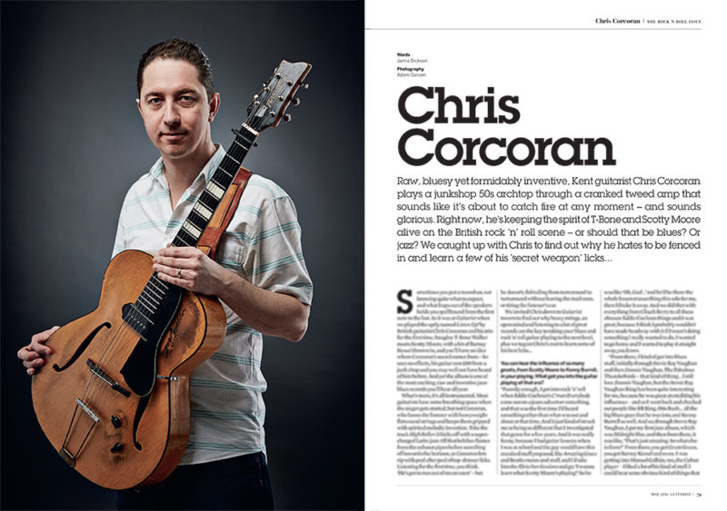 Chris Corcoran for Guitarist magazine. Photo by Adam Gasson.