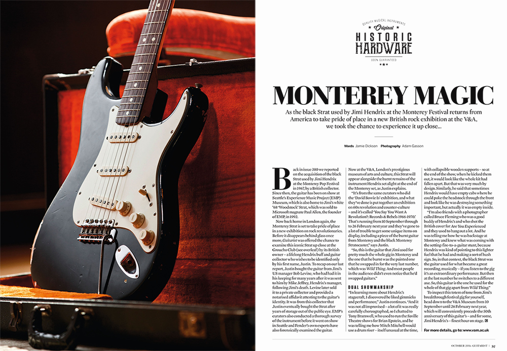 Jimi Hendrix Fender Stratocaster. Photographed for Guitarist by Adam Gasson. No authorised reproduction.