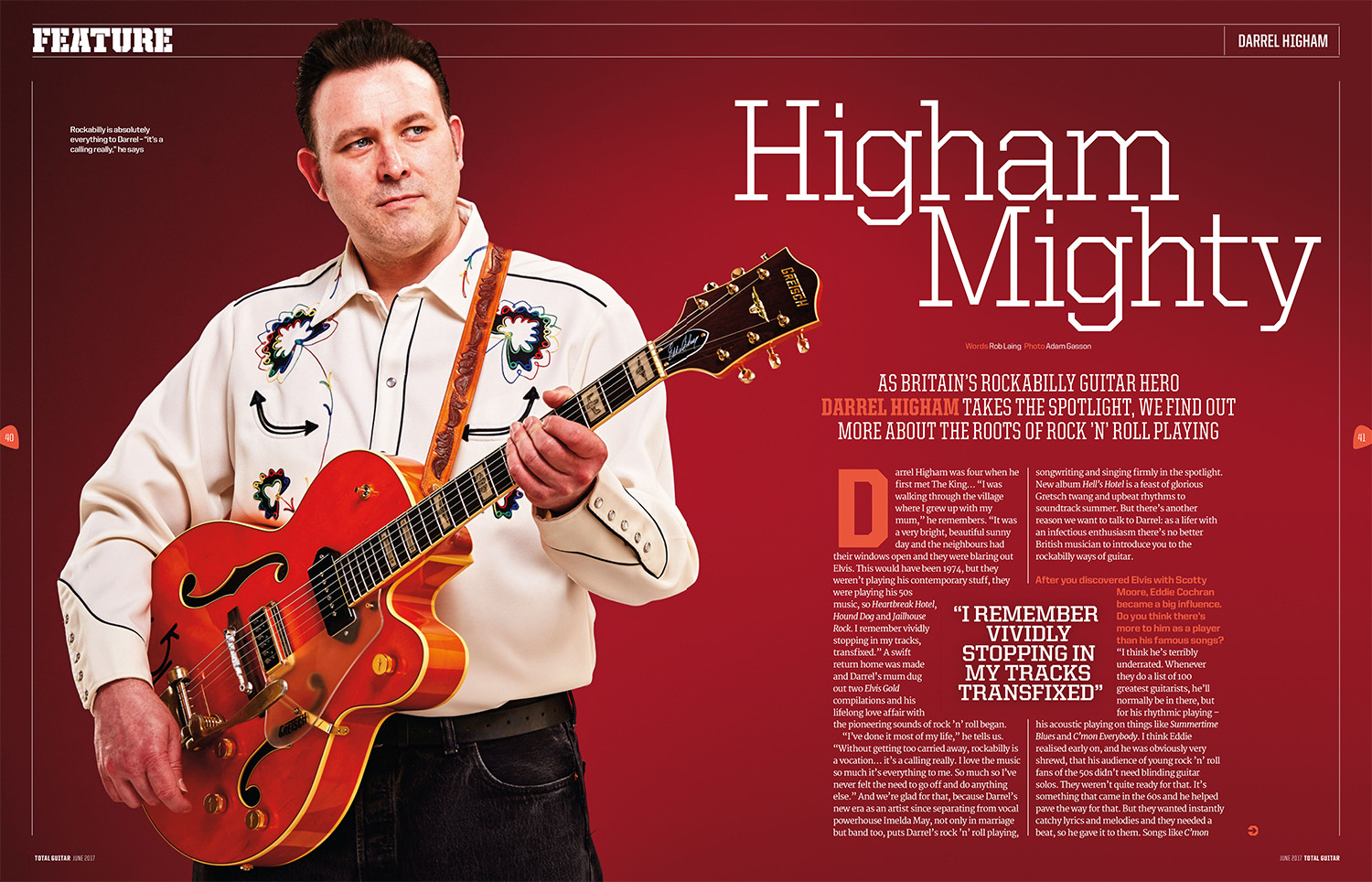 Darrel Higham photographed for Total Guitar by Adam Gasson.
