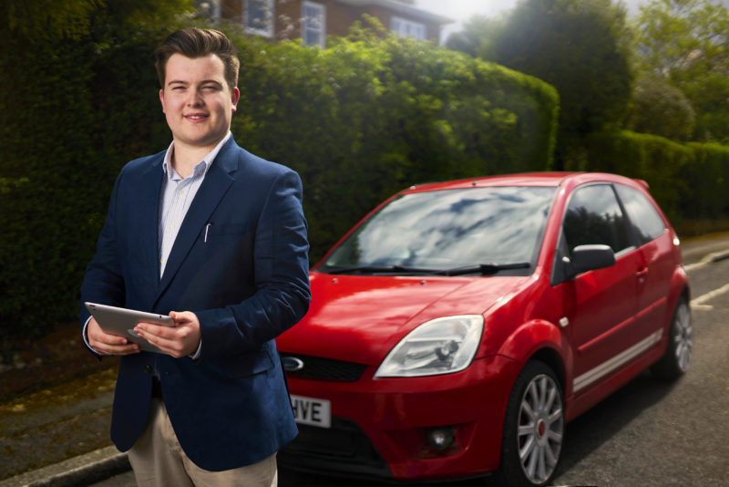 George Howell, founder of Ideal First Car, photographed in Exeter, Devon, 26 April 2018. Photo by Bristol photographer Adam Gasson / adamgasson.com Edit Note: Pre-saturated final high res image