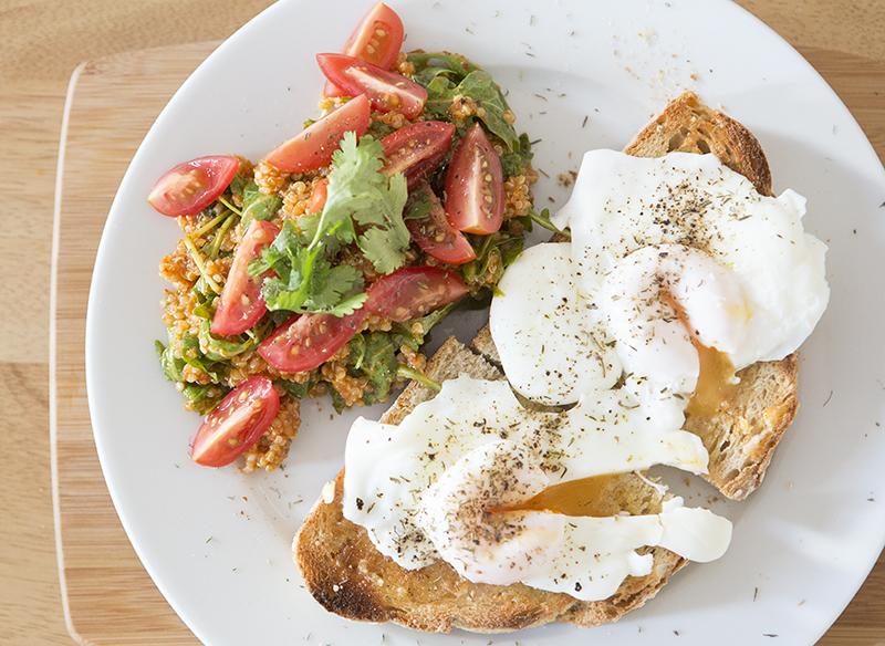 Poached eggs with quinoa salad by Adam Gasson / adamgasson.com