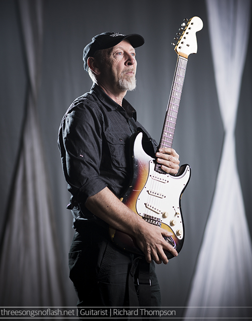 Richard Thompson photographed for Guitarist magazine at Colston Hall, Bristol. Photo by Adam Gasson / threesongsnoflash.net