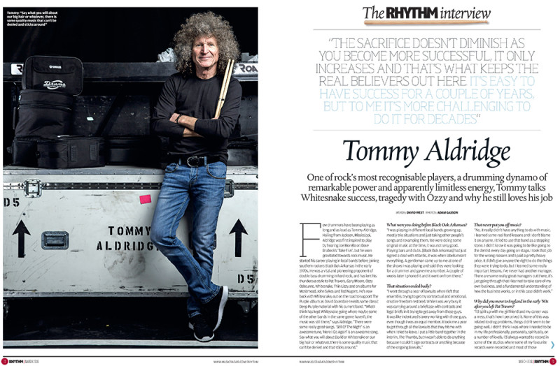 Whitesnake's Tommy Aldridge for Rhythm. Photo by Adam Gasson / adamgasson.com for Rhythm / Future Publishing.