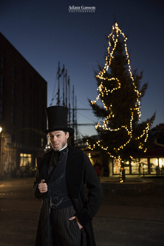 Mr Brunel with the outdoor Christmas tree at the ss Great Britain. Photo by Adam Gasson / adamgasson.com